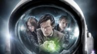 Amy, The Doctor & Rory reflected in an Astronaut's helmet