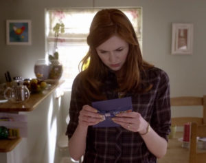 "Amy with the ""TARDmark"" envelope"