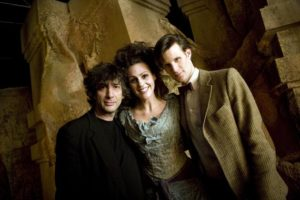 Doctor Who promo pic of Neil Gaiman, Suranne Jones, and Matt Smith