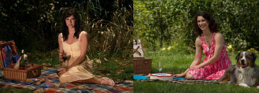 Lisa and Amelia picnic comparison