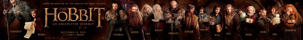 The Hobbit poster with Gandalf, Bilbo, and the dwarves