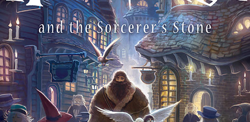 Harry Potter and the Sorcerer's Stone new cover art with Harry and Hagrid in Diagon Alley