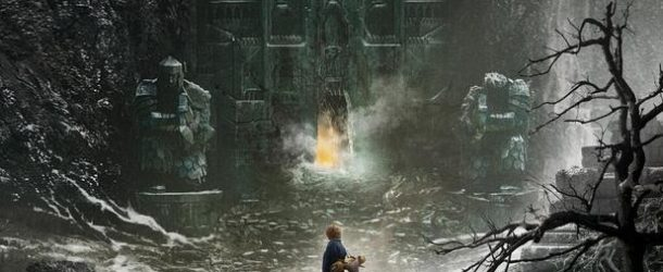 The-Hobbit-The-Desolation-of-Smaug-poster with Bilbo standing in front of the entrance to the Lonely Mountain