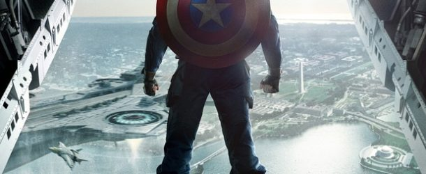 captain america the winter soldier--poster featuring Captain about to jump from plane