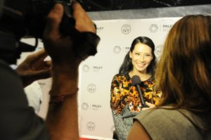 Lucy Liu gives a short interview on the red carpet.
