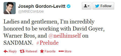 Joseph Gordon-Levitt tweet about producing Sandman