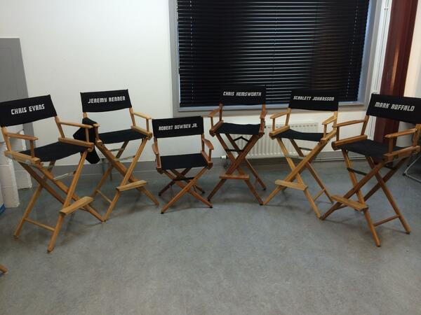 & Castsu0027 chairs on set of Avengers 2
