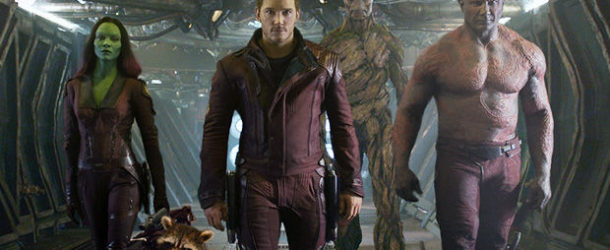 The-Guardians-of-the-Galaxy--Gamora, Groot, Rocket, Peter, and Drax walking down hallway