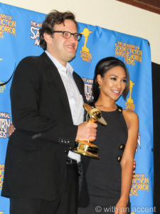 Andrew Kreisberg and Candice Patton at the 2015 Saturn Awards
